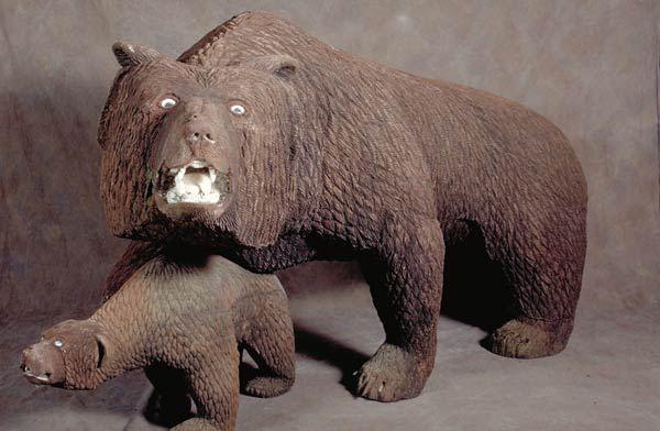 Grizzly Bear and Cub carved in wood by Floyd Davis