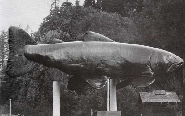Carved Wood Salmon 21 feet long by Floyd Davis
