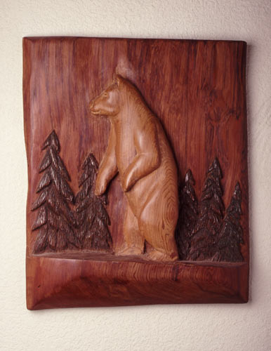 Carved Wood Wall Panel in Redwood by Floyd Davis